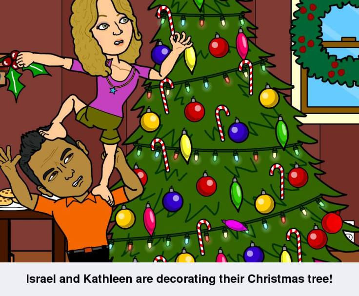 Israel and Kathleen are decorating their Christsmas Tree