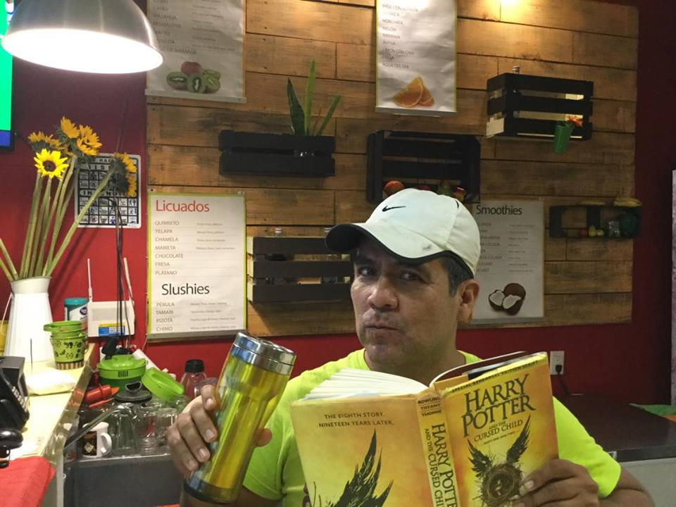 Reading Harry Potter at the Salads