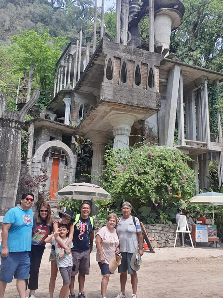 My family at Xilitla's Surrealistic Castle